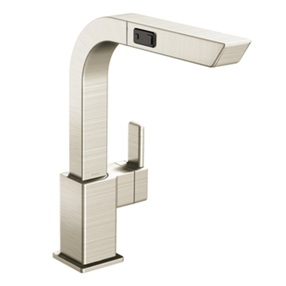 Classic stainless one-handle high arc pullout kitchen faucet 90 DEGREE 1.5 GPM (5.7 L/min) max Classic Stainless 24.75 x 3.5 x 12.25 (inch)