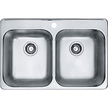 "REGINOX Stainless Steel 20 Gauge Double Bowls Single Hole Drop-In Kitchen Sink 31"" x 21"" With Waste Fittings"