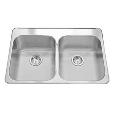 "Reginox Stainless Steel 20 Gauge Double Bowls 3 Holes Drop-In Kitchen Sink 31-1/4"" x 20-1/2"" With Waste Fittings"