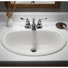 "Ovation Sink - Self Rimming undercounter sink White Counter top Porcelain on Steel 4"" Center 02220000.020"